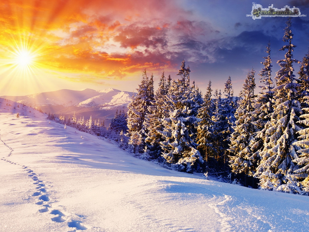Sfondilandiait Sfondo Gratis Di Sole Sulla Neve Per Desktop