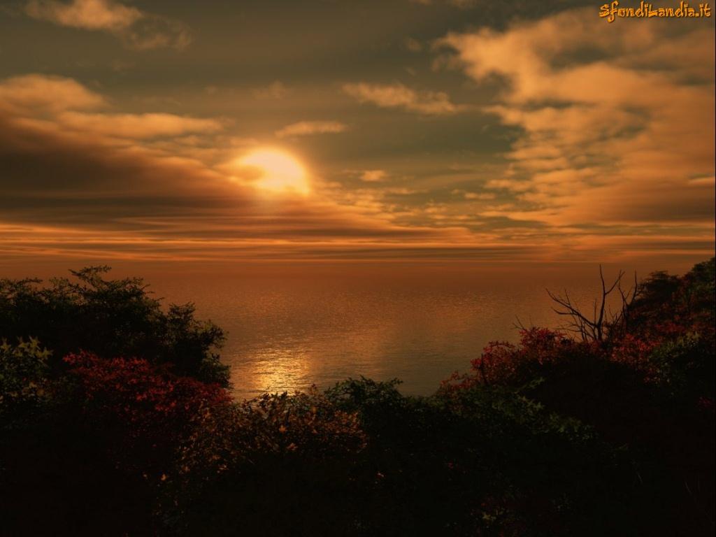 Sfondo gratis di tramonto sul mare per for Sfondilandia mare