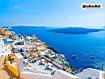 Sfondo: Veduta di Santorini